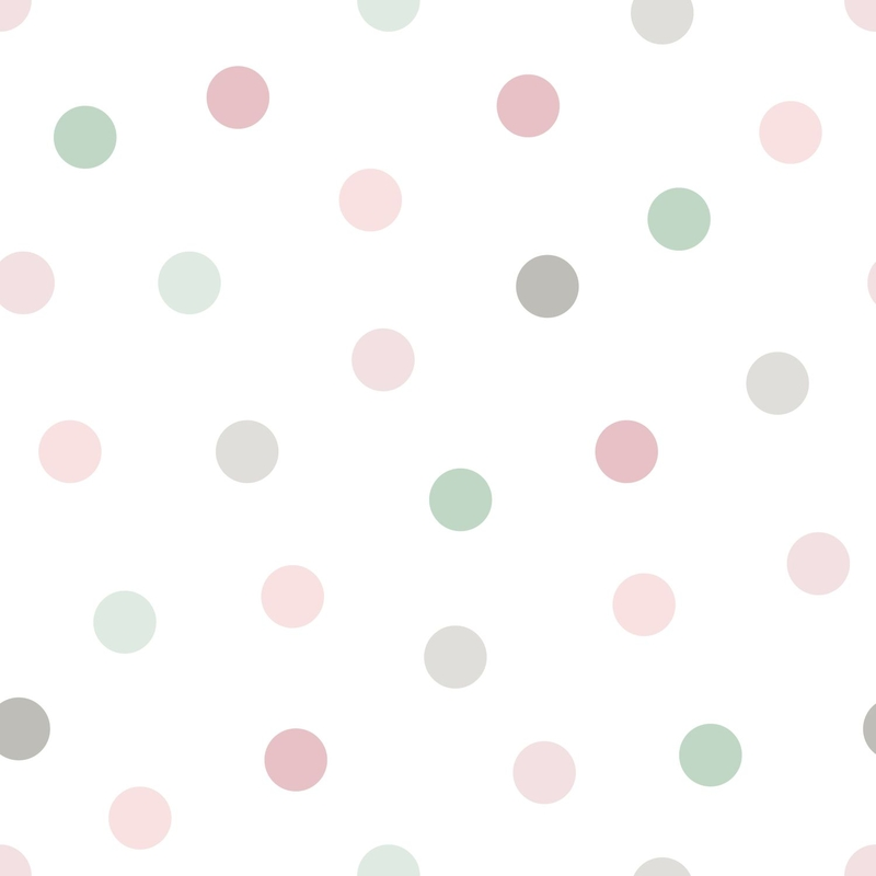 Vliestapete 'Punkte' rosa/jade