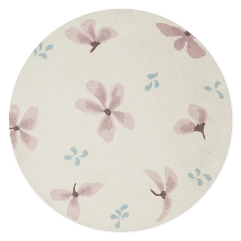 Wollteppich 'Windflower' rund creme/rosa 110cm