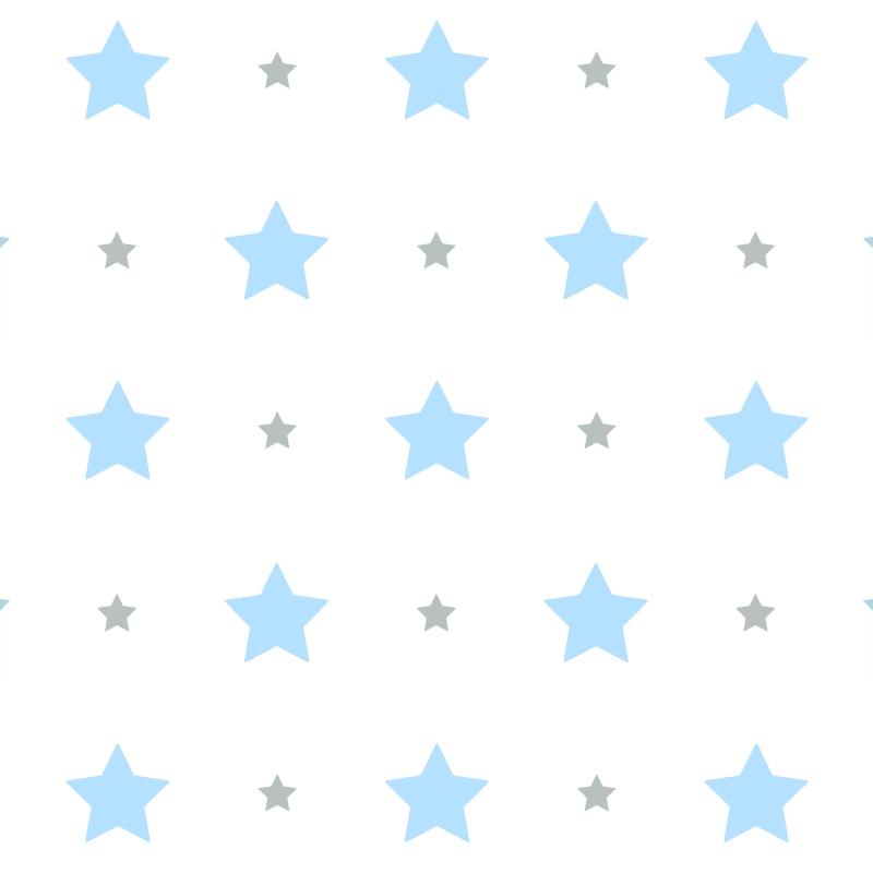 Kindertapete 'Sterne' blau/grau
