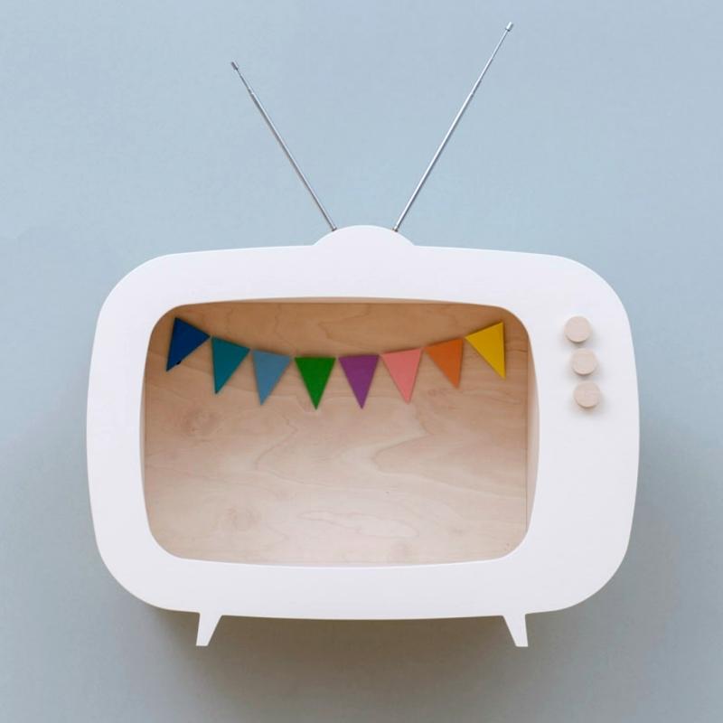 Regal 'Fernseher' weiß 40cm handmade