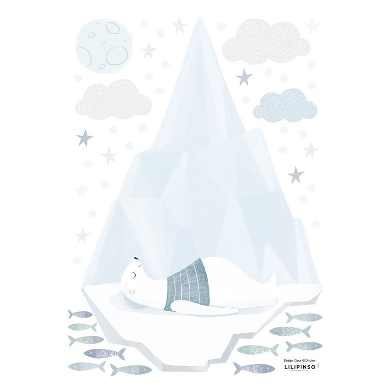 Wandsticker 'Arctic' Eisberg mit Bär hellblau