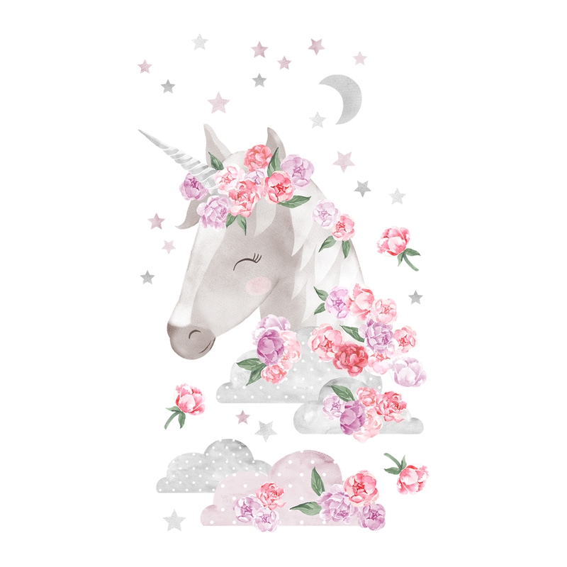 Wandsticker 'Einhorn' rosa/grau 90cm