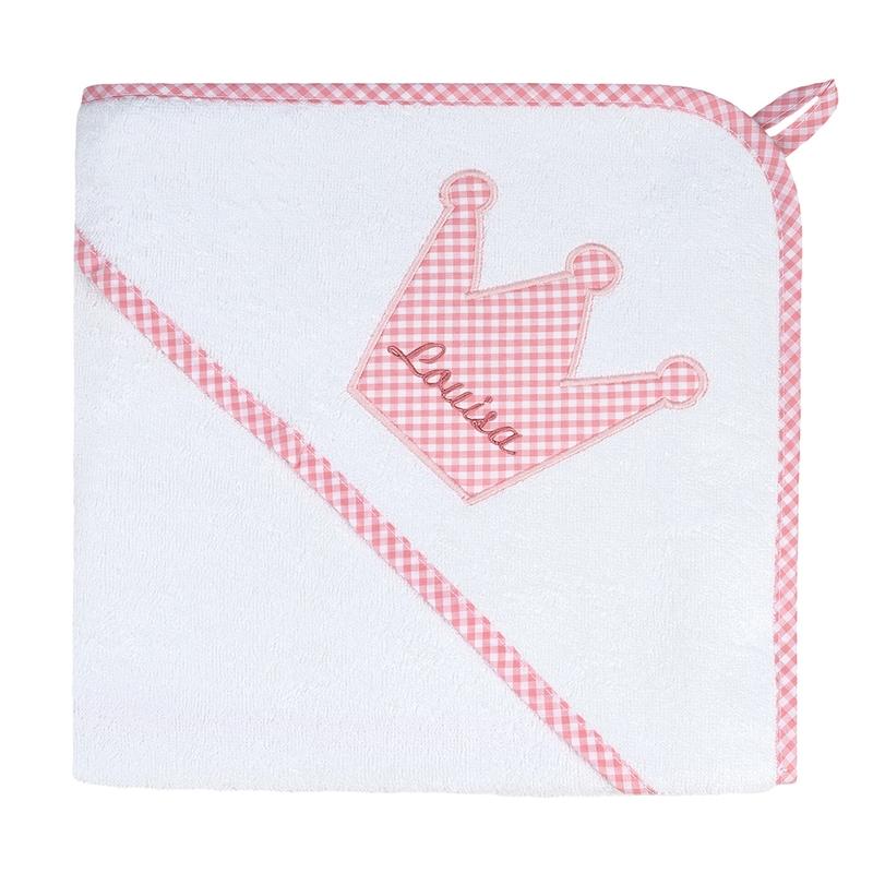 Kapuzenhandtuch Vichy rosa personalisiert