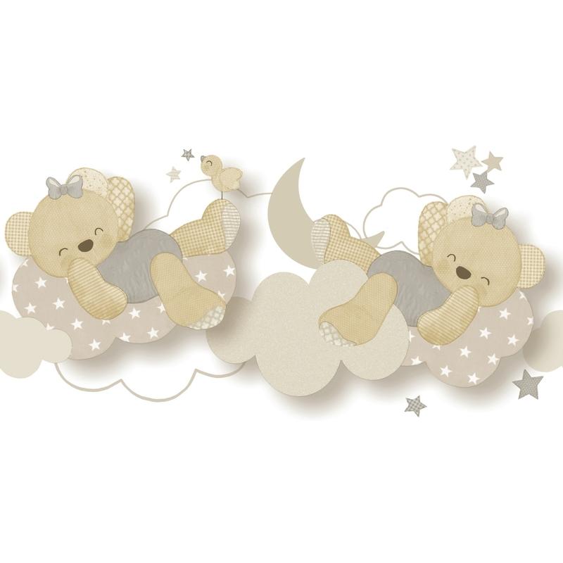 Babybordüre 'Bärchen' beige/grau