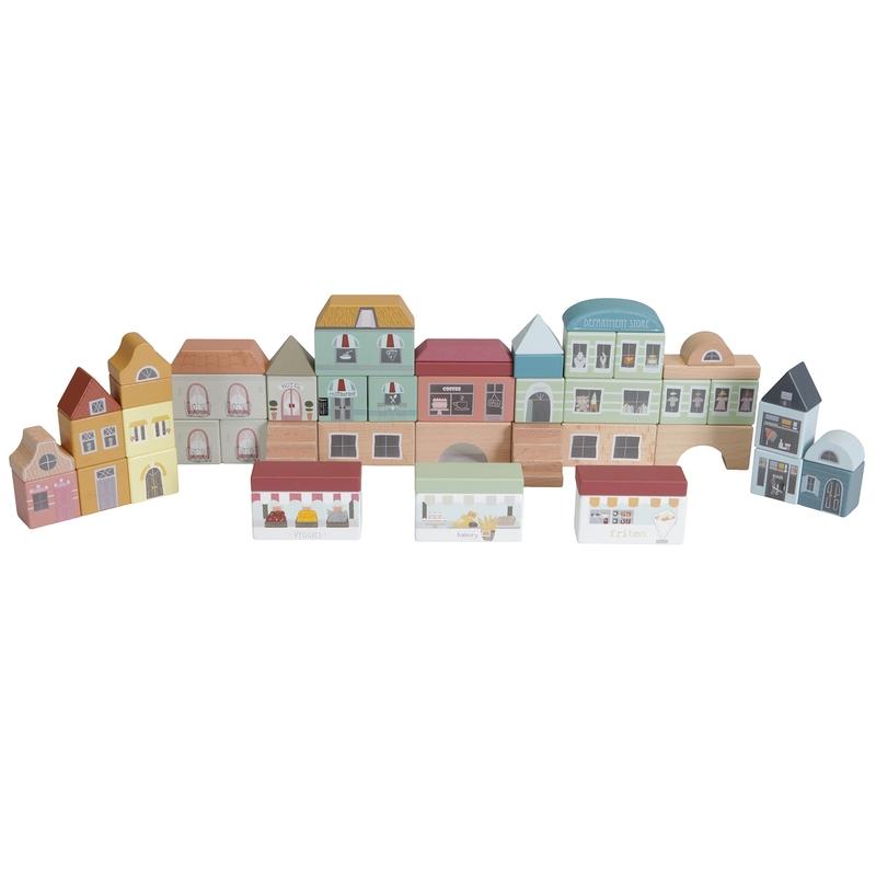 Häuser-Set aus Holz bunt 50-tlg. ab 2 Jahren