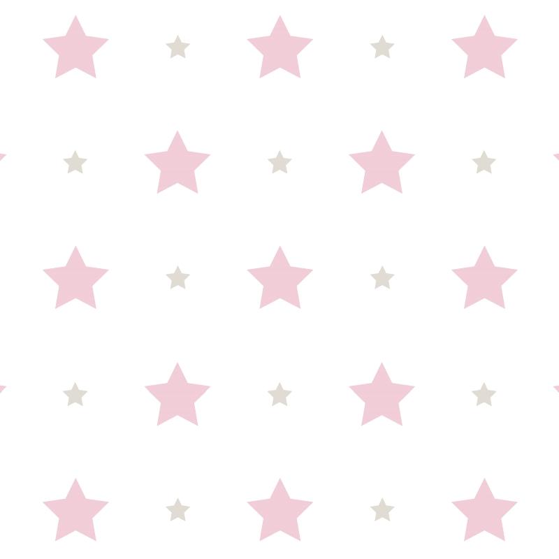 Kindertapete 'Sterne' rosa/grau