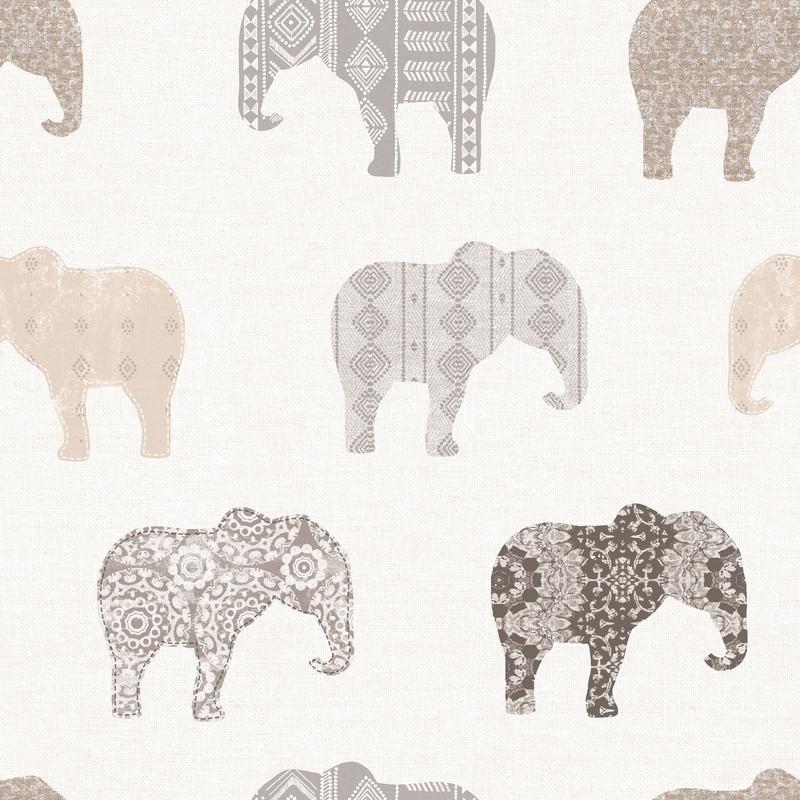 Vliestapete 'Elefanten' beige/grau