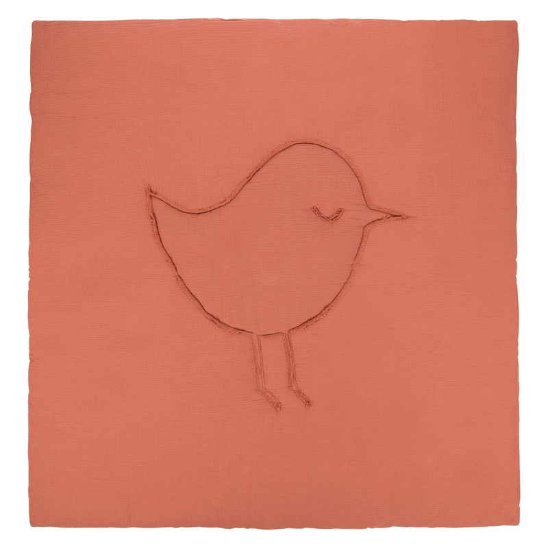 Krabbeldecke 'Vogel' Musselin rost 120x120cm