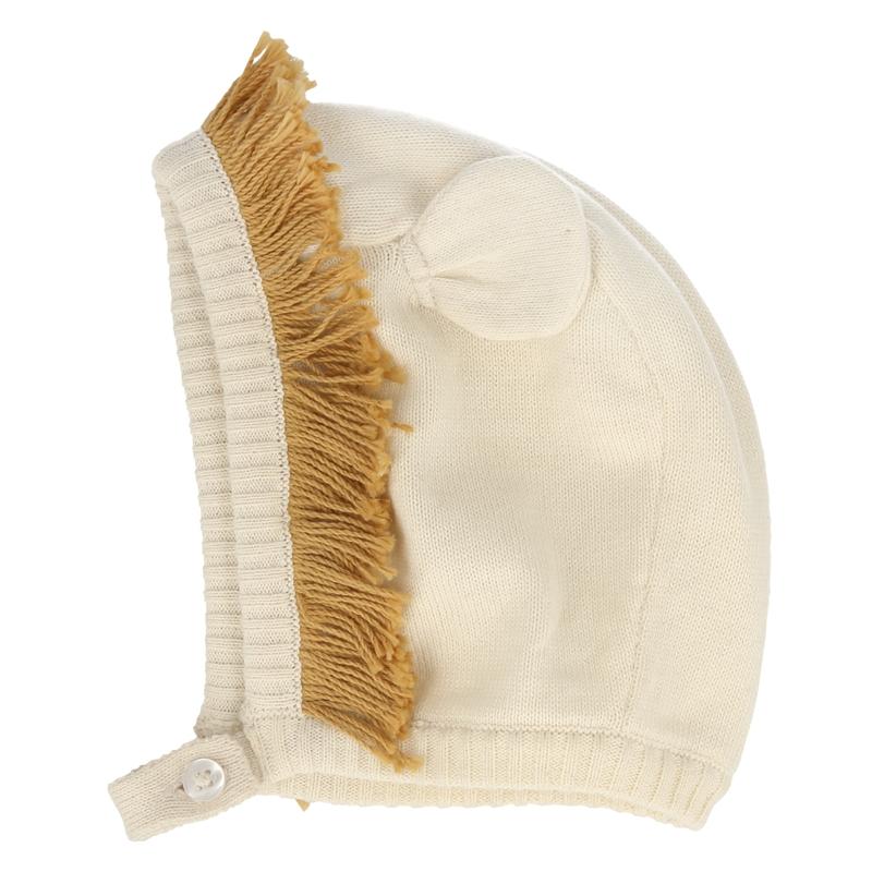 Babymütze 'Löwe' Feinstrick creme/camel
