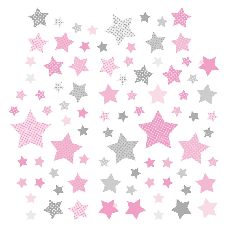 Wandsticker 'Sterne' rosa/grau 68-tlg.