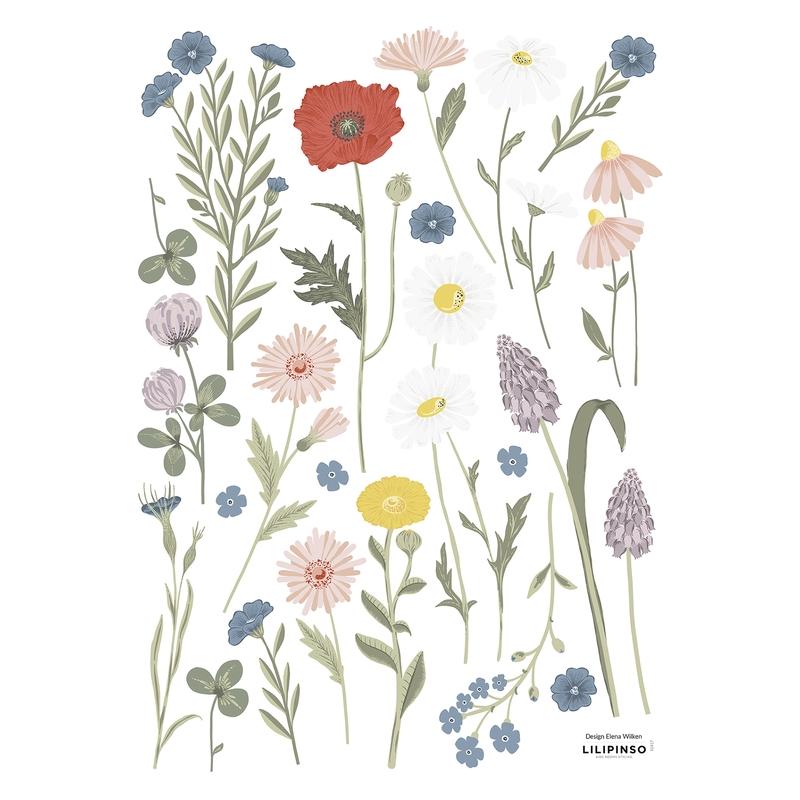 Wandsticker Blumen 'Countryside' grün/blau