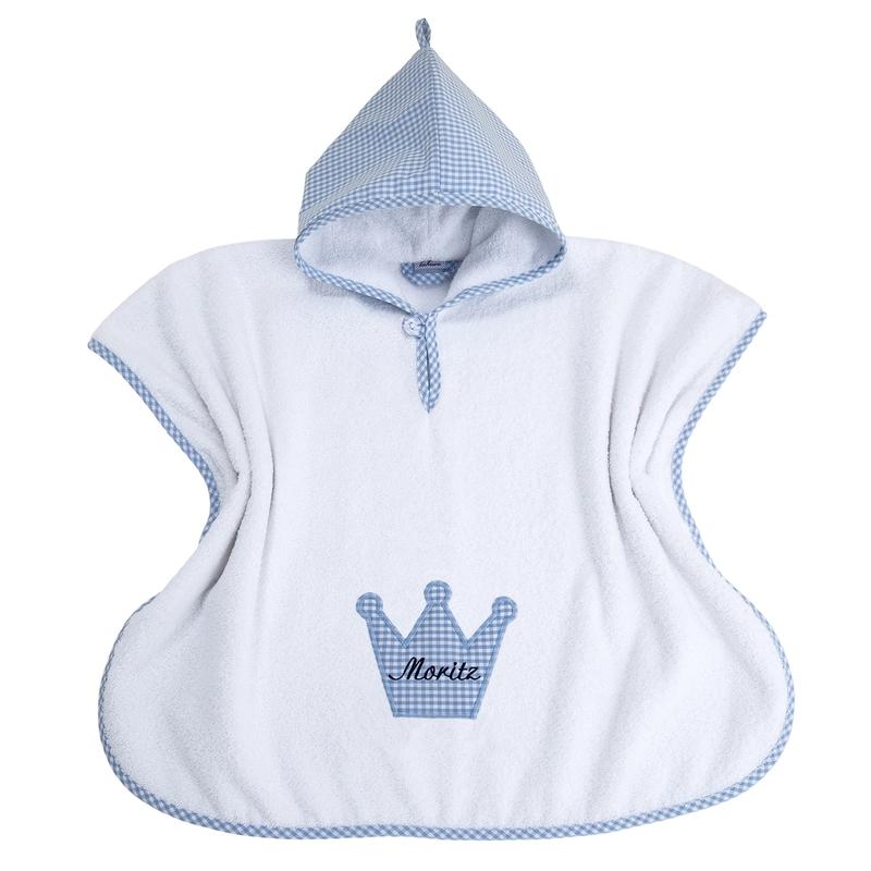 Badeponcho 'Krone' Vichy blau personalisiert