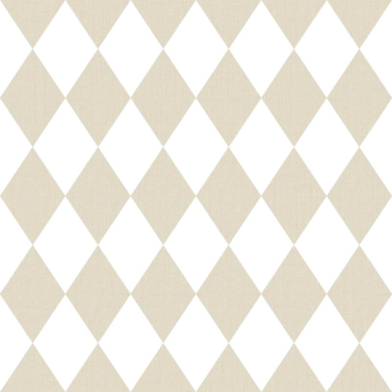 Vliestapete 'Rauten' beige/weiß