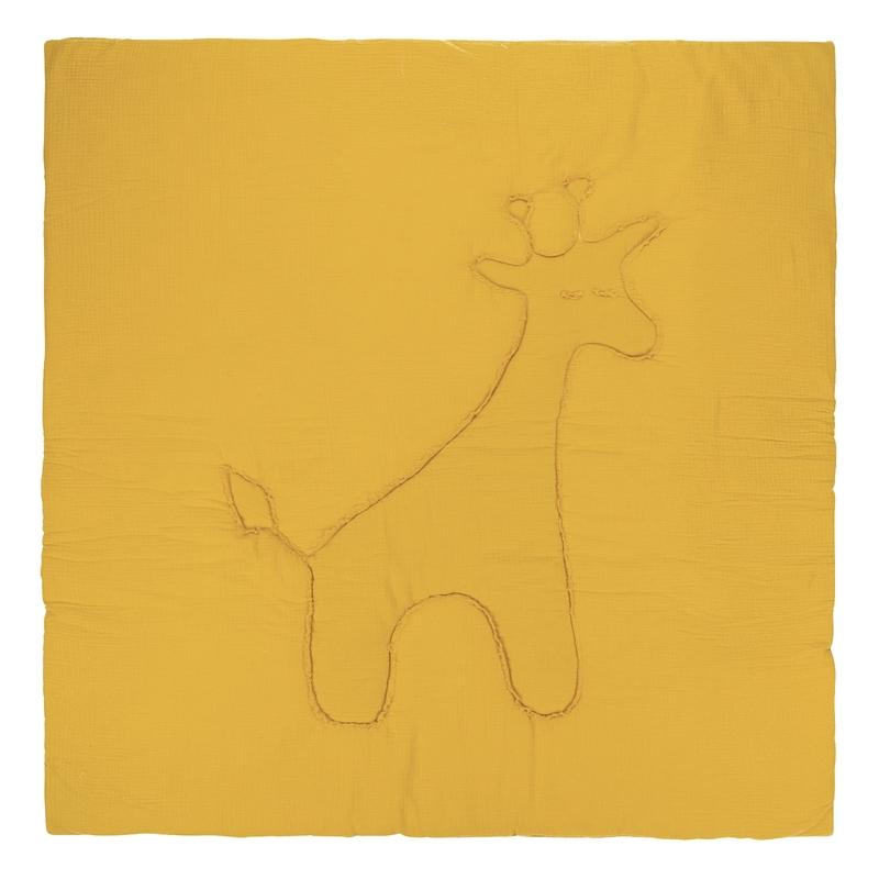 Krabbeldecke 'Giraffe' Musselin senf 120x120cm
