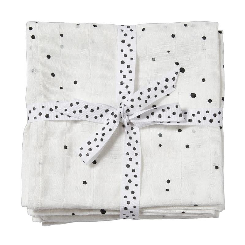 Pucktücher 'Dots' weiß 2er Set 120x120cm