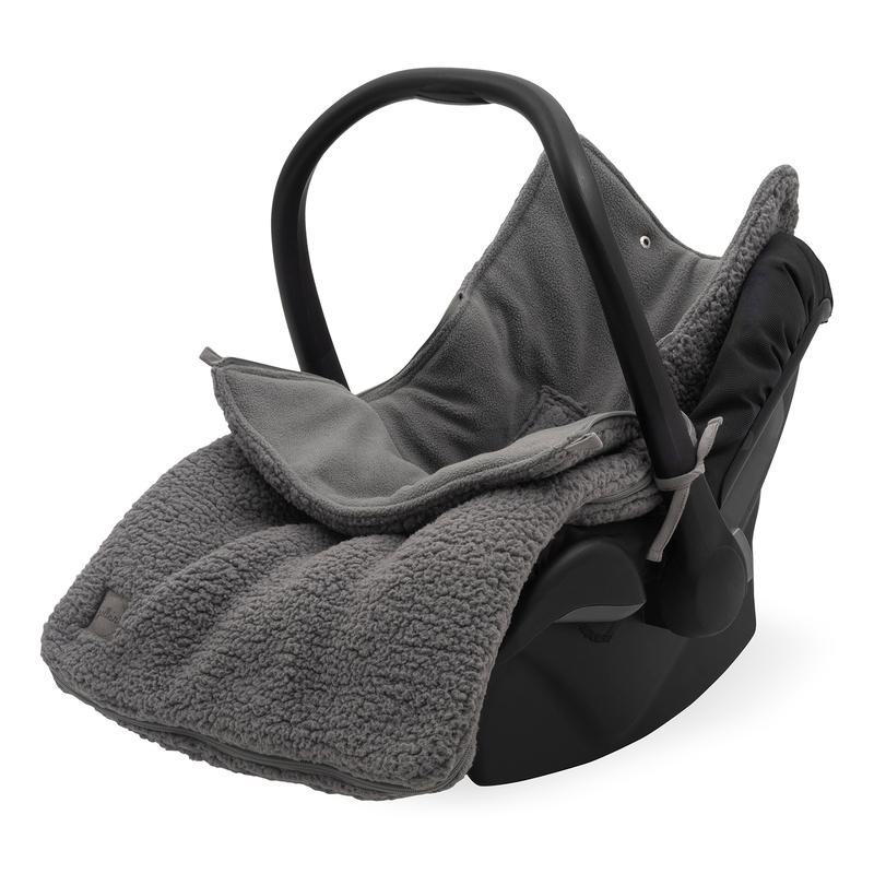 Baby-Fußsack aus Teddyplüsch grau