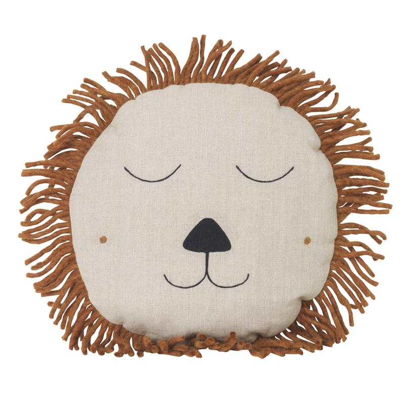 Kissen 'Löwe' aus Leinen beige/cognac