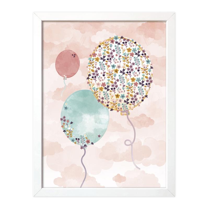Poster 'Blumen-Luftballons' pastell 30x40cm