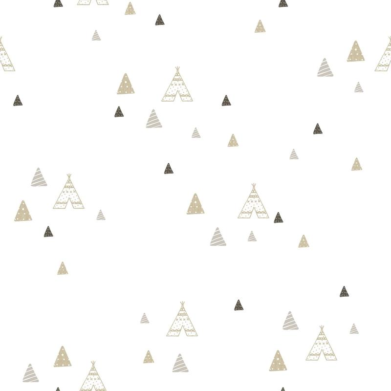 Vliestapete 'Tipi' beige/grau