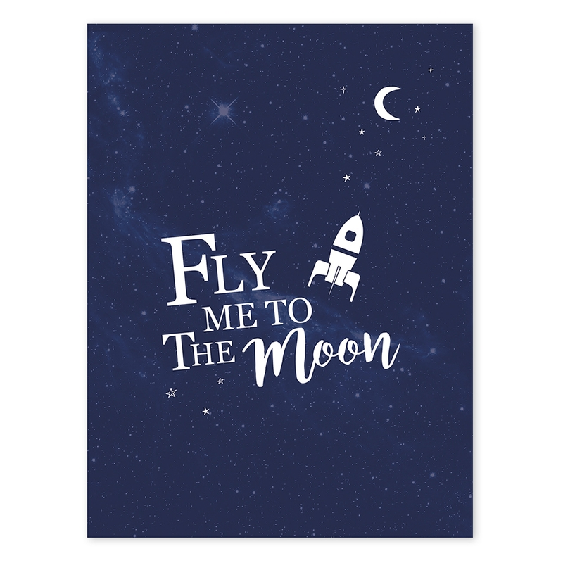 Poster 'Fly me to the Moon' blau 30x40cm