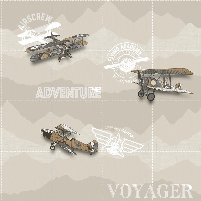Vliestapete 'Flugzeuge' beige/braun