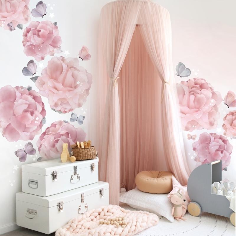 Stoff-Wandsticker 'Blumengarten' rosa 76-tlg.
