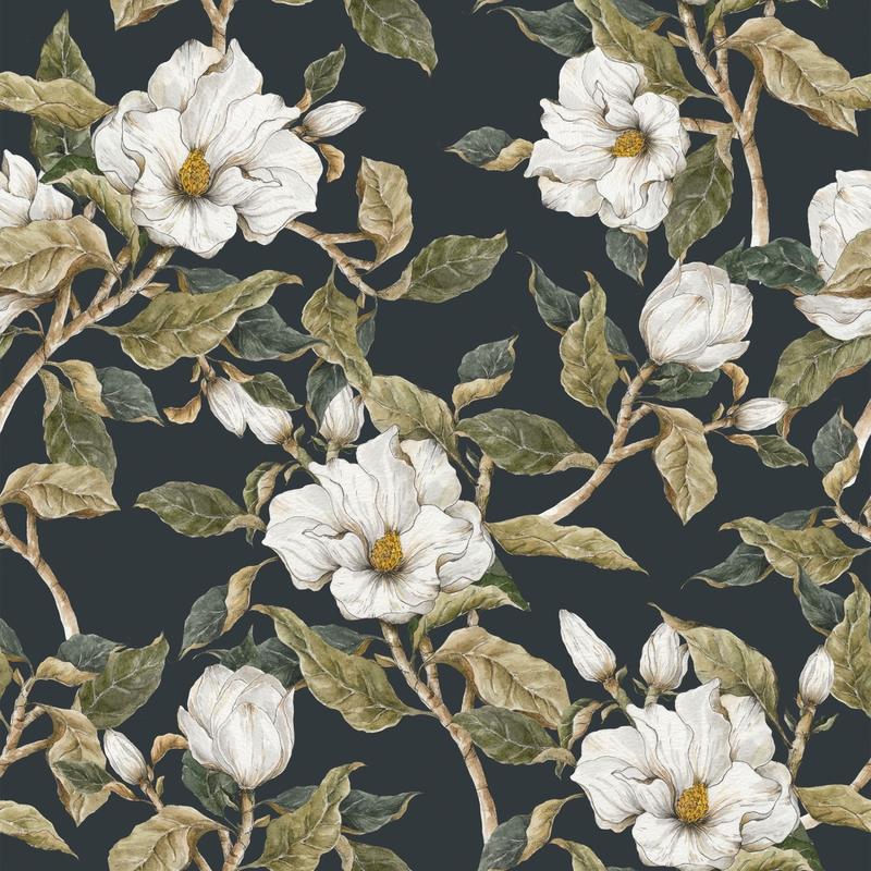 Tapete 'Vintage Magnolie' dunkelblau 50x280cm