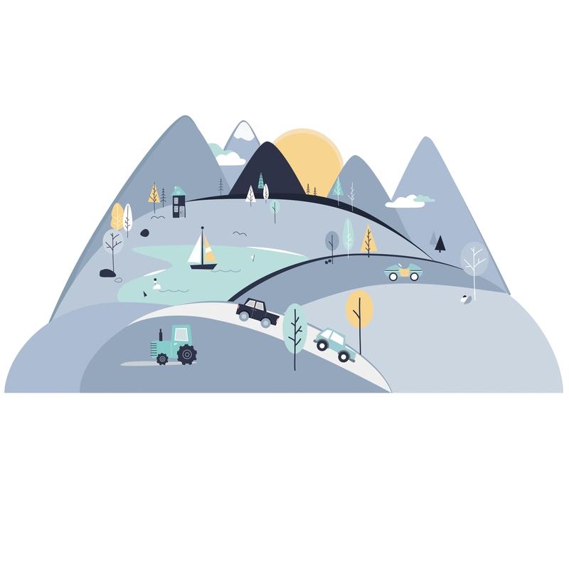 XL-Wandsticker 'Berge' rauchblau/mint