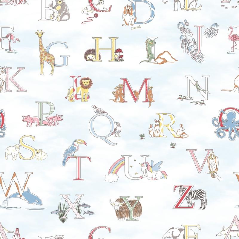 Vliestapete 'Alphabet' hellblau