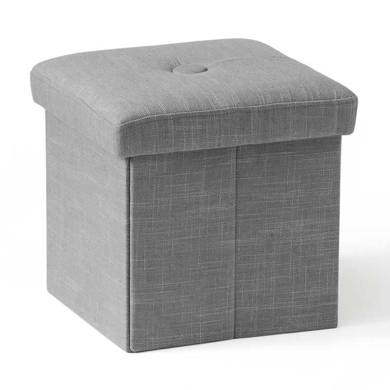 Hocker mit Aufbewahrung grau 30cm