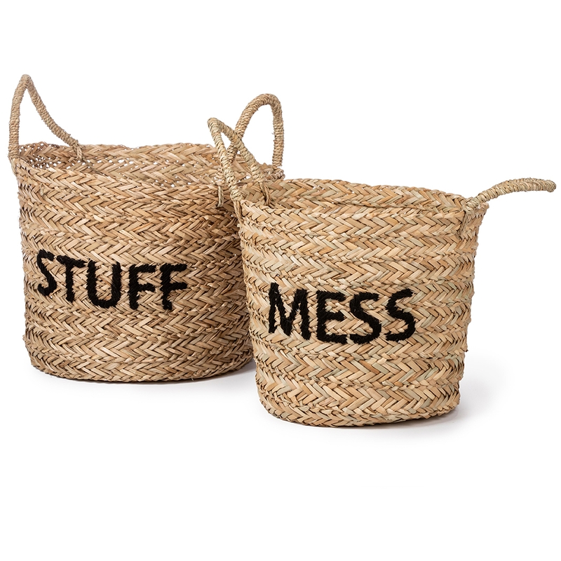 Aufbewahrungskörbe 'Mess/Stuff' natur/schwarz