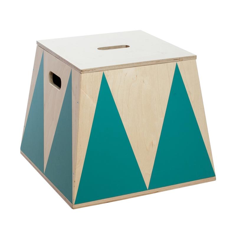 Spielzeugkiste 'Trapez' Holz petrol 29cm