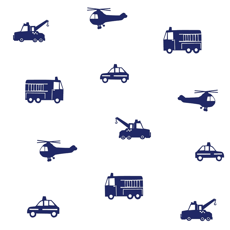 Vliestapete 'Fahrzeuge' weiß/dunkelblau