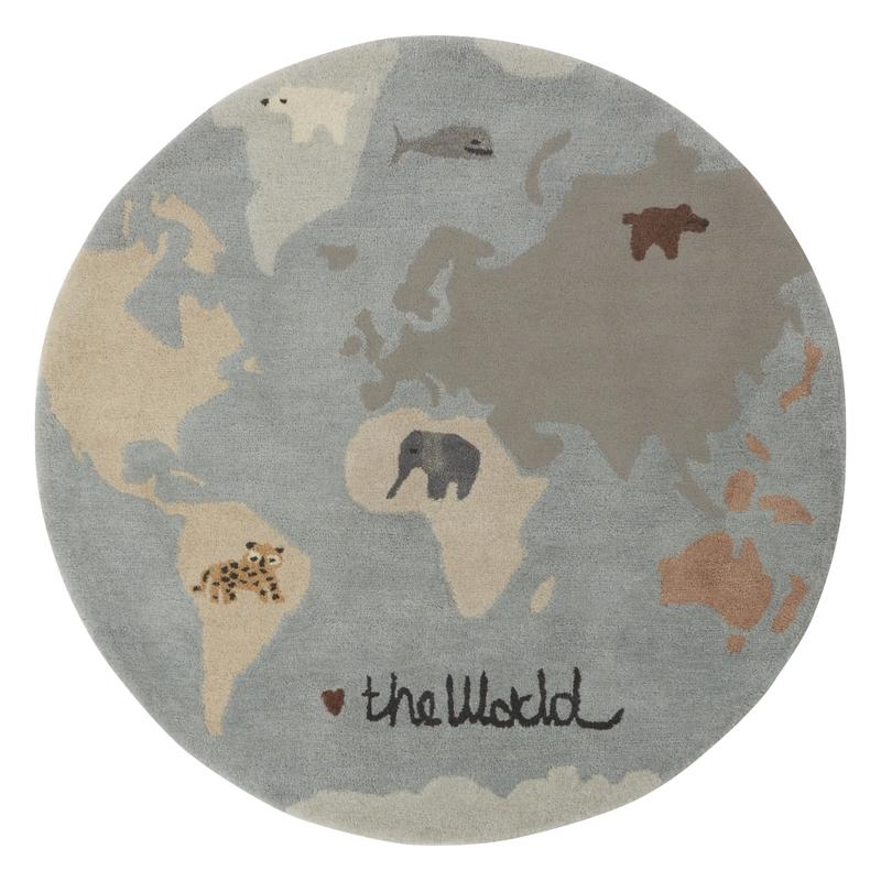 Kinderteppich 'Weltkarte' blau/grau ca. 120cm