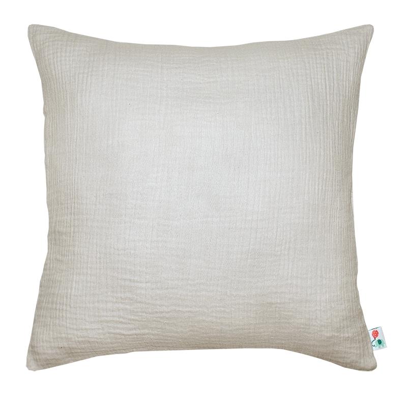 Kissenbezug Musselin hellgrau handmade