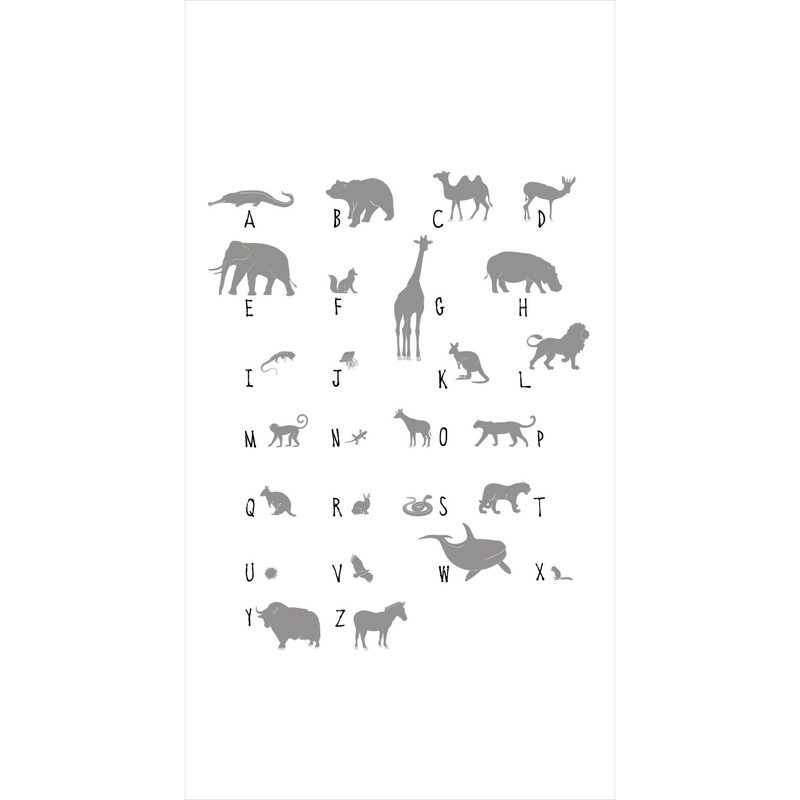 Fototapete 'ABC Tiere' weiß/grau 150x279cm