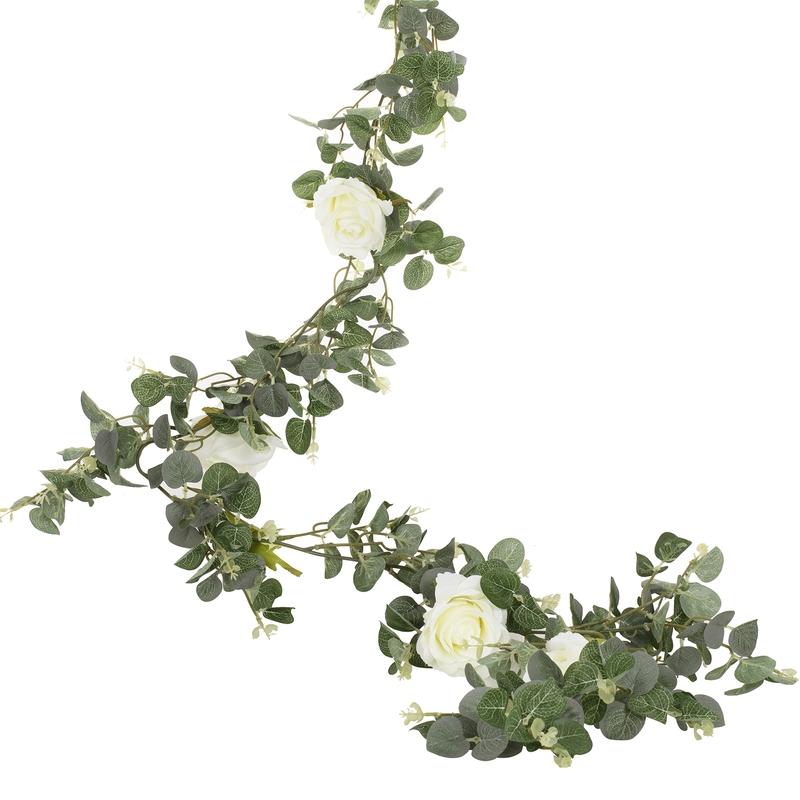 Blättergirlande mit Rosen grün 180cm