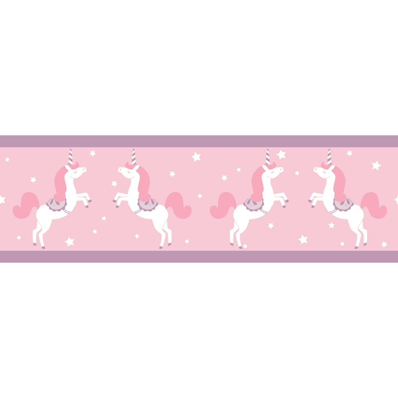 Bordüre 'Einhorn' rosa/lila