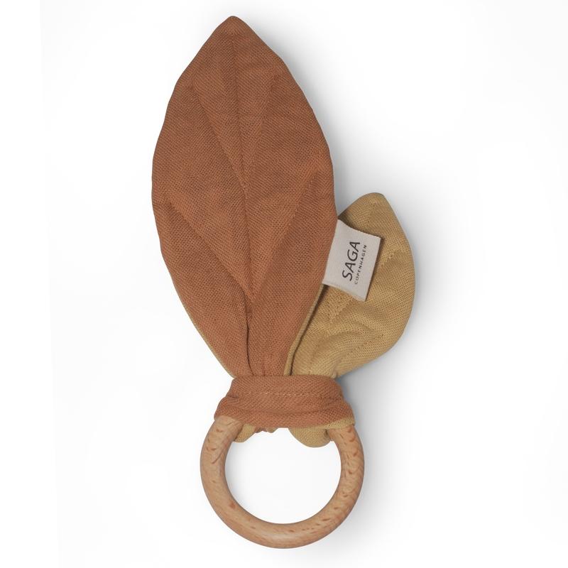 Beißring 'Blätter' Musselin rost 18cm