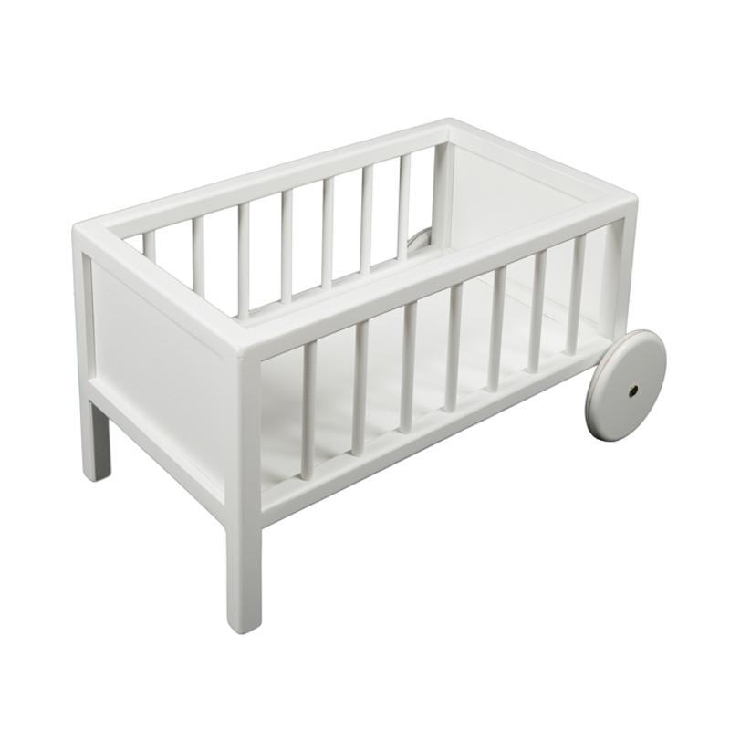Puppenbett aus Holz weiß mit Rädern