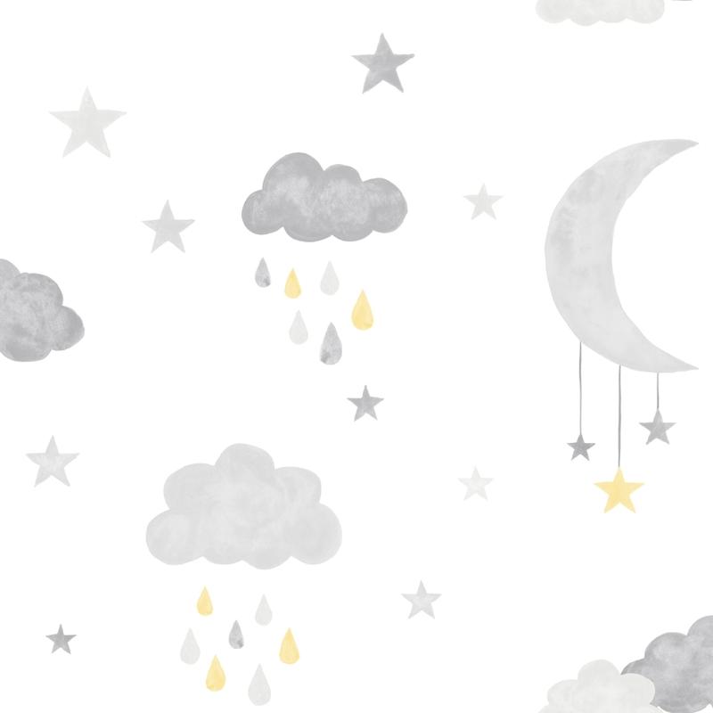 Vliestapete 'Wolken & Sterne' grau/gelb