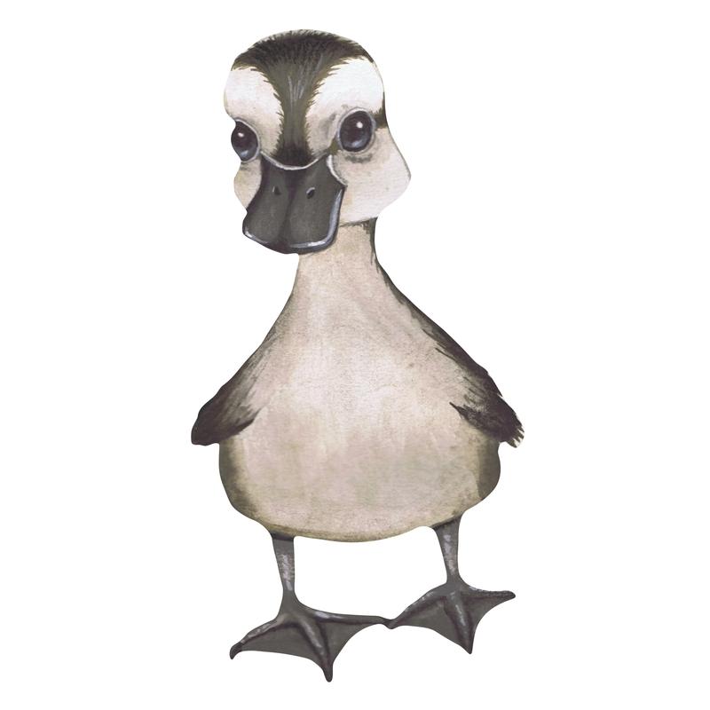 Stoff-Wandsticker 'Kleine Ente' grau