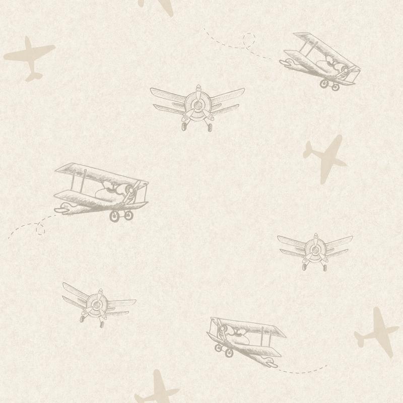 Tapete 'Flugzeuge' beige/gold