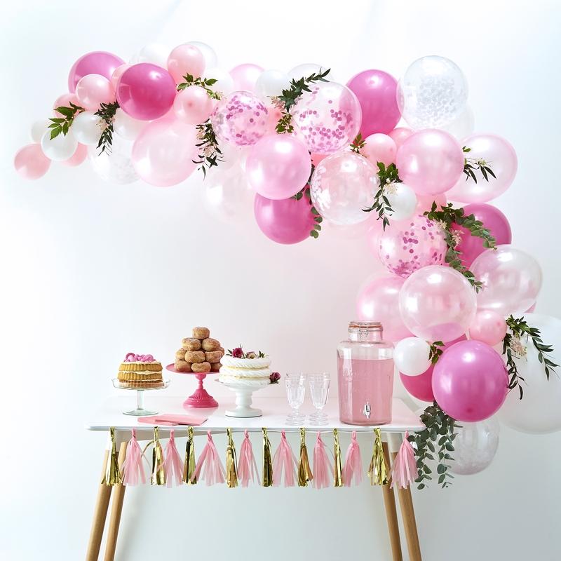 Ballongirlande pink/rosa/weiß 70-tlg.