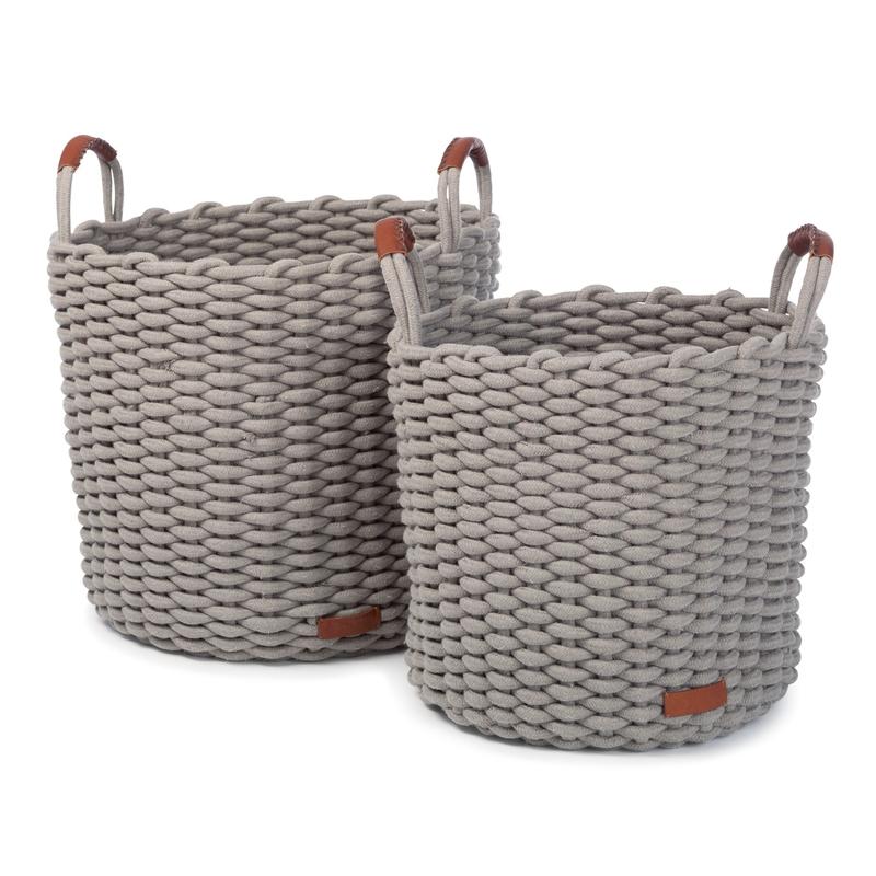 Flechtkörbe aus Baumwolle grau 2er Set