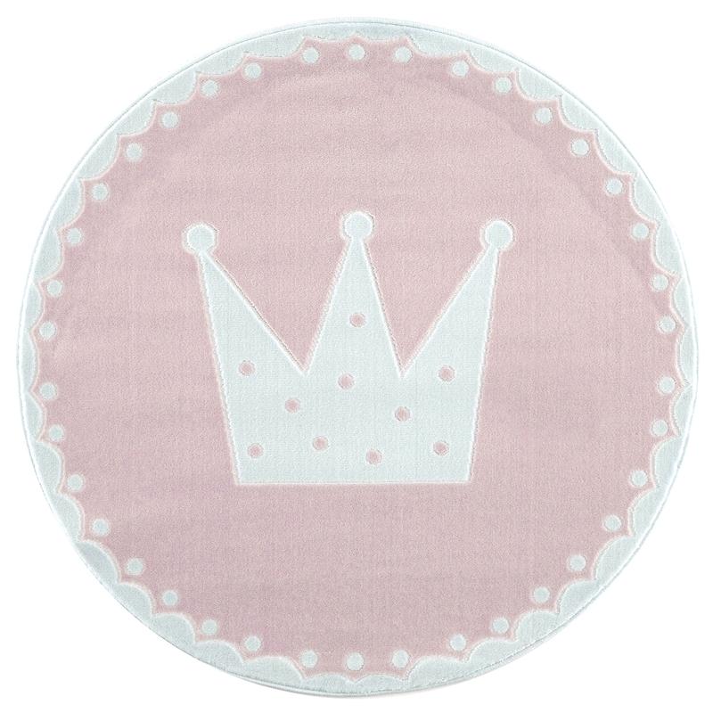 Velour-Kinderteppich 'Crown' rosa ca. 133cm