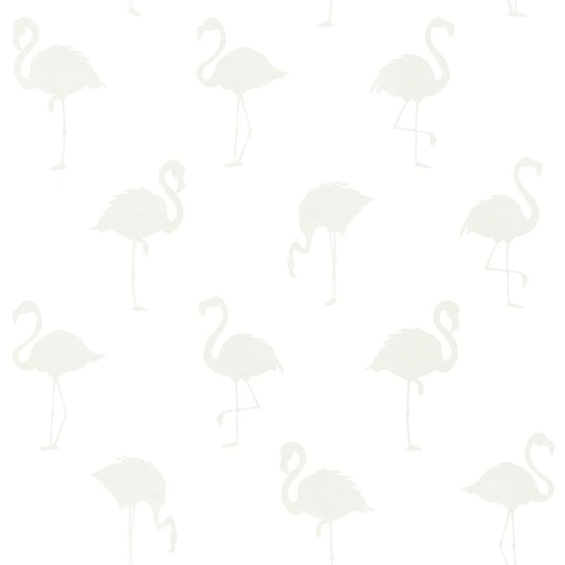 Vliestapete 'Flamingos' weiß/perlmutt