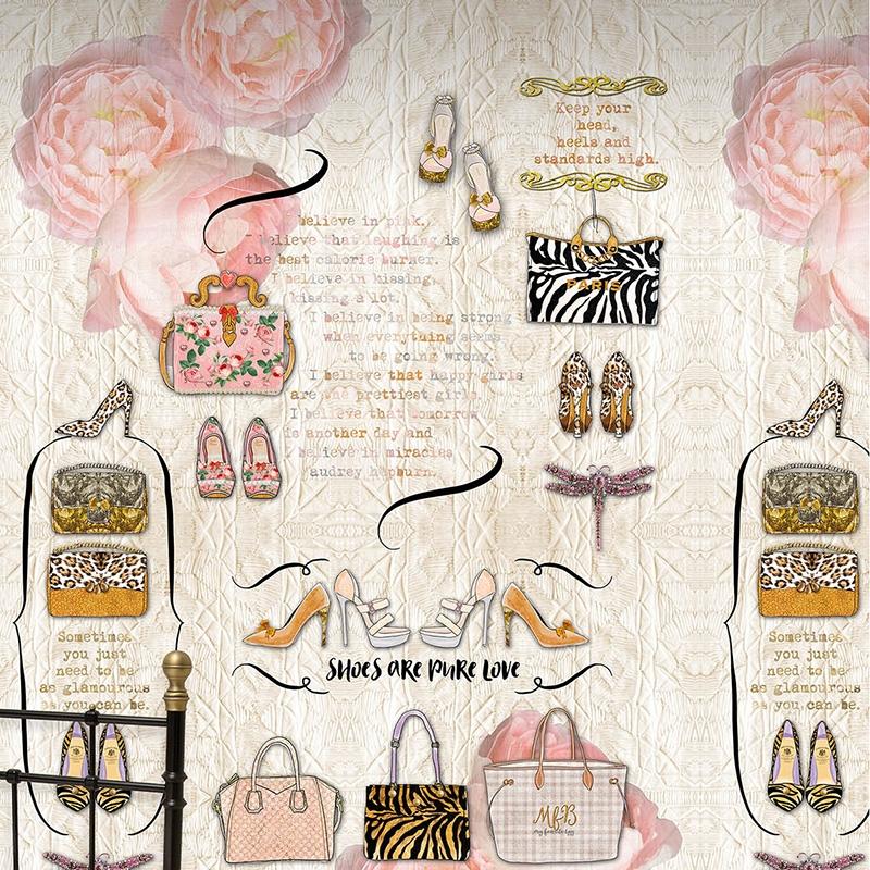 Tapetenwandbild 'Accesoires' beige/rosa/ocker - 200x300cm