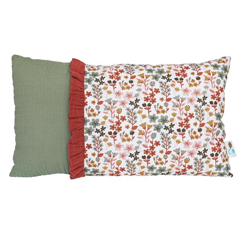 Minikissen 'Blumen' khaki/rostrot 20x35cm