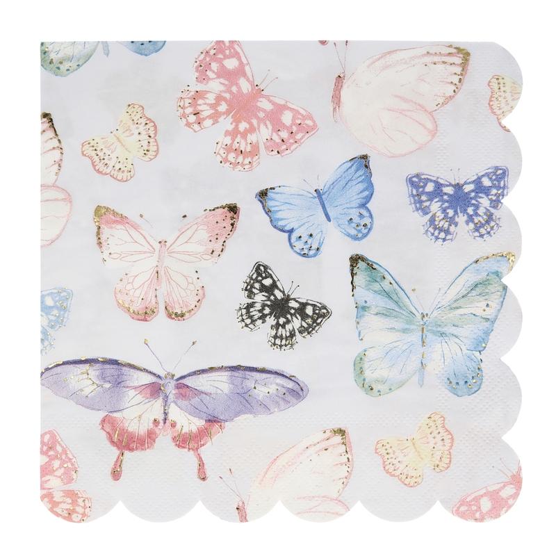 Papierservietten 'Schmetterlinge' pastell 16 Stk.